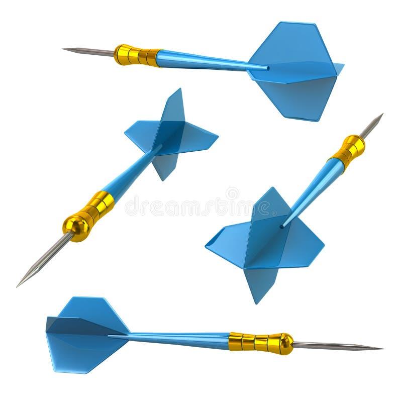 De blauwe 3d geïsoleerde illustratie van pijltjespijlen royalty-vrije illustratie