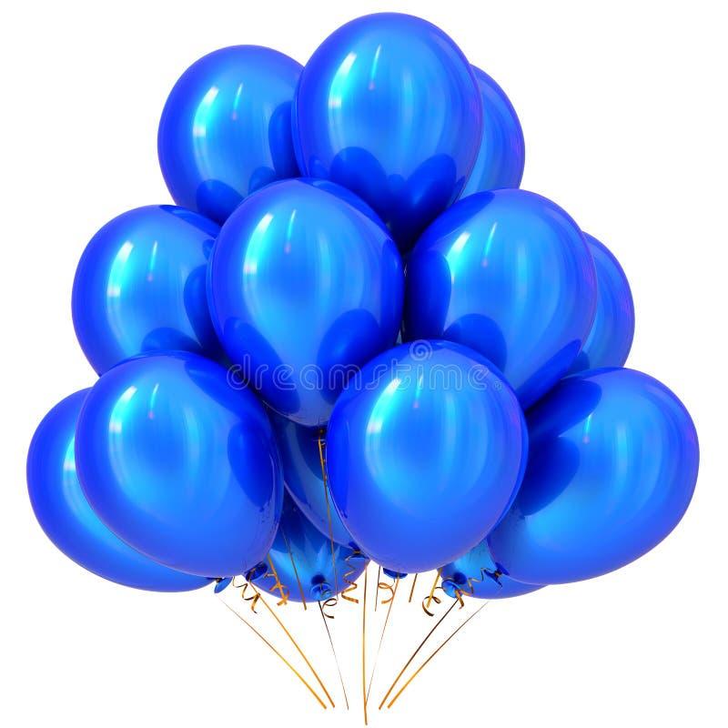 De blauwe decoratie van de verjaardagscarnaval van partijballons gelukkige cyaan royalty-vrije illustratie