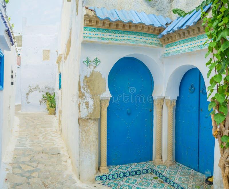 De blauwe deuren royalty-vrije stock fotografie