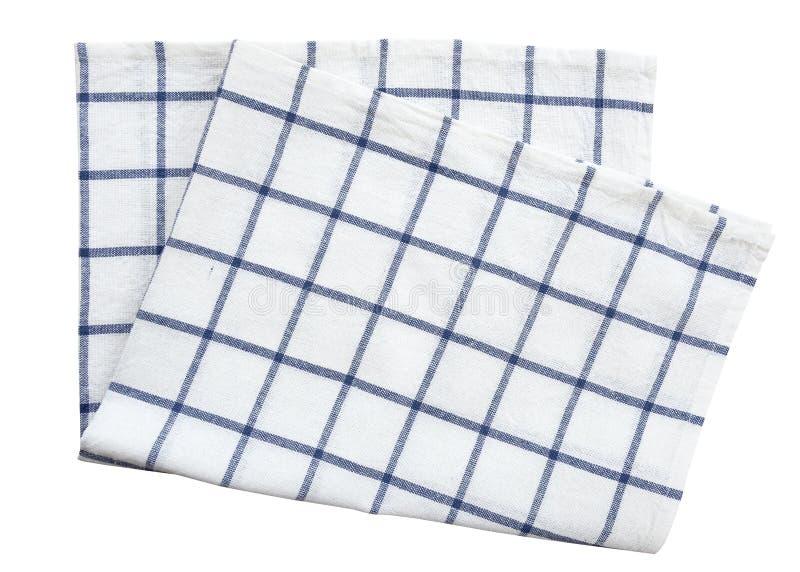 De blauwe die handdoek van de doekkeuken op witte achtergrond wordt geïsoleerd (het knippen weg) royalty-vrije stock fotografie