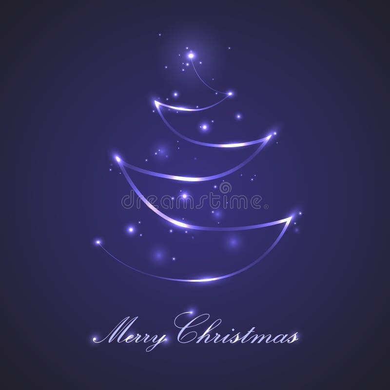 De blauwe die kaart van de Kerstmisgroet met neonlichtlijn als Kerstmisboom gestalte wordt gegeven met rond fonkelingen vector illustratie