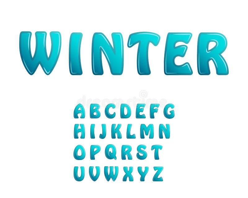 De blauwe doopvonten van de de vakantiewinter van ijs glanzende brieven vector illustratie
