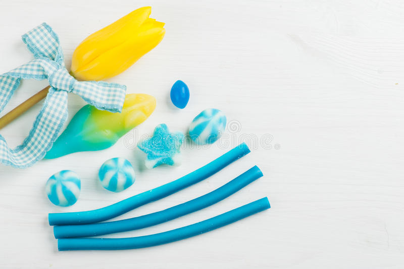 De blauwe Douche van de themababy royalty-vrije stock afbeeldingen