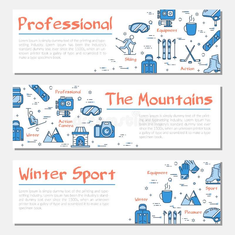De blauwe drie banners van de de wintersport royalty-vrije illustratie
