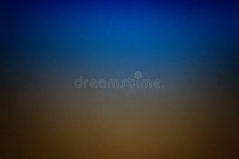 De blauwe en aardachtige bruine achtergrond met glanzend centrum en de vignetgrens met wijnoogst grunge schilderden metaaltextuur royalty-vrije stock foto's