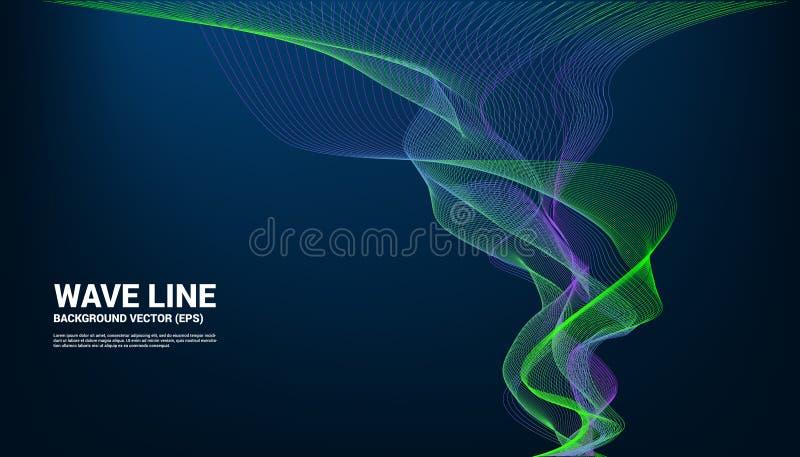 De blauwe en groene kromme van de Correcte golflijn op donkere achtergrond royalty-vrije illustratie