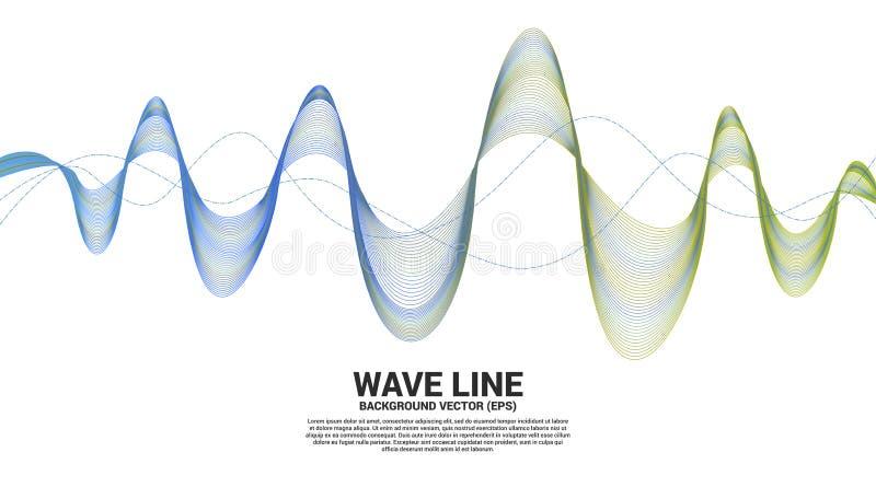 De blauwe en groene kromme van de Correcte golflijn op witte achtergrond Element voor de futuristische vector van de thematechnol royalty-vrije illustratie