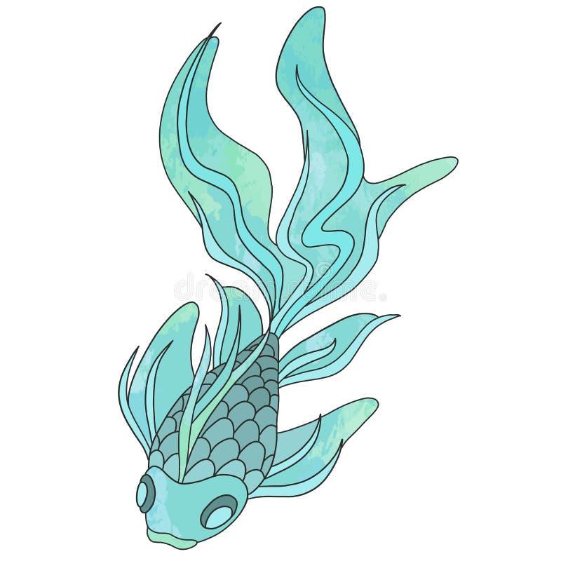 De blauwe en groene vissen van waterverf geweven koi voor jonge geitjes en van kleren druk royalty-vrije illustratie