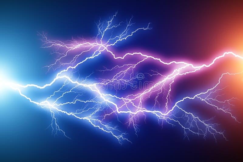 De blauwe en rode elektrische lossing van de bliksemboog royalty-vrije illustratie