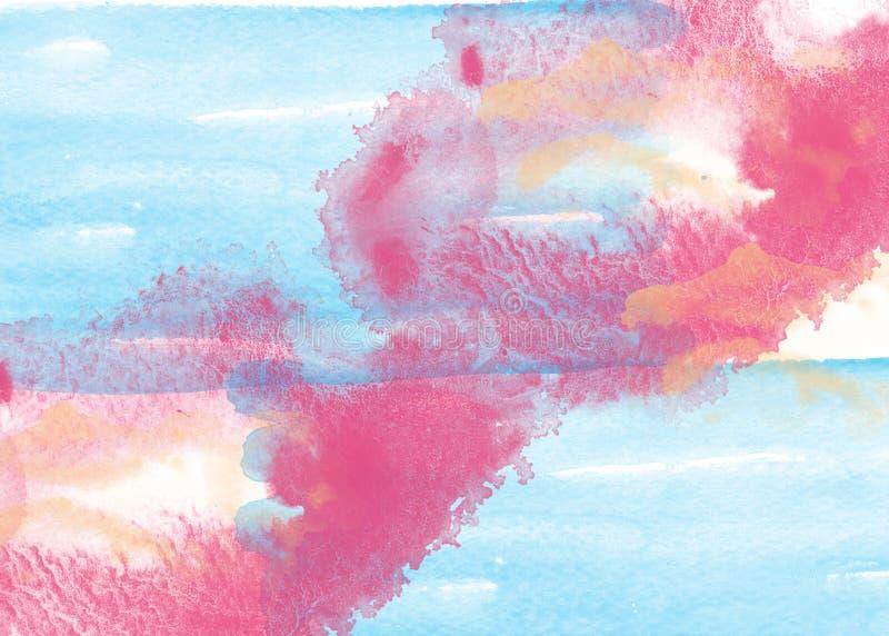 De blauwe en rode kleur van de waterverfplons stock foto's