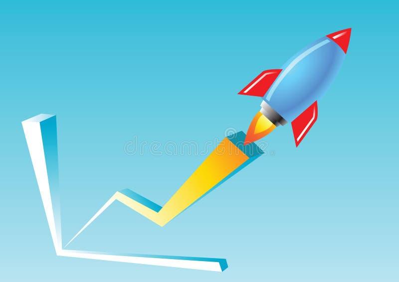 De blauwe en rode raketvlieg over de de middelenzaken van de grafiekgrafiek en de relaties groeien snel zeer en royalty-vrije illustratie