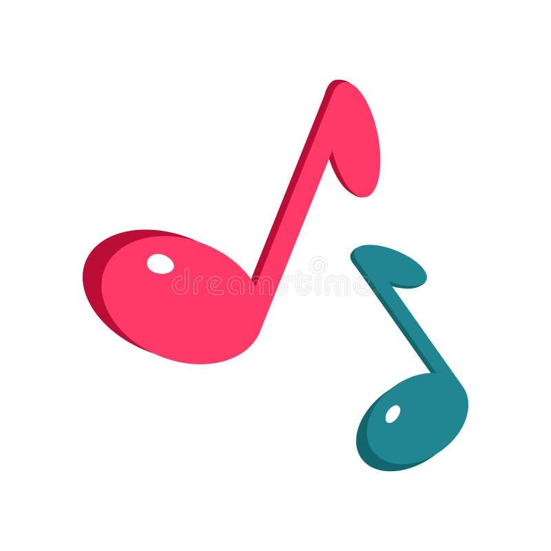 De Blauwe en Roze Nota's van het muziekteken over Wit royalty-vrije illustratie