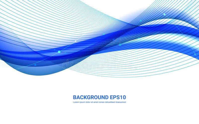 De blauwe en witte abstracte achtergrond van de lijn vlotte kromme vector illustratie