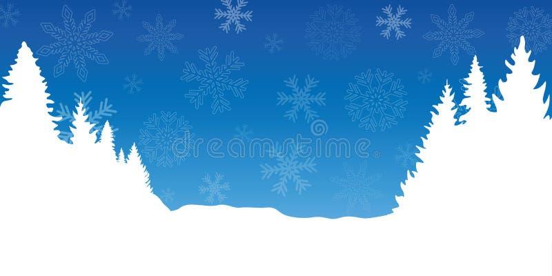 De blauwe en witte achtergrond van de chrismaswinter met sneeuwvlokken en sparren stock illustratie