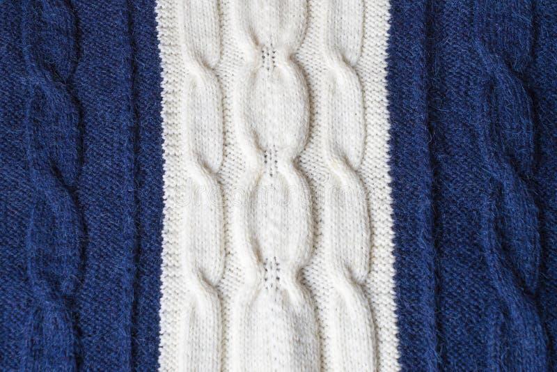 De blauwe en witte tweekleurige achtergrond van de woltextuur stock fotografie
