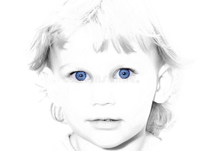 De blauwe Eyed Selectieve kleur van het Meisje royalty-vrije stock foto's