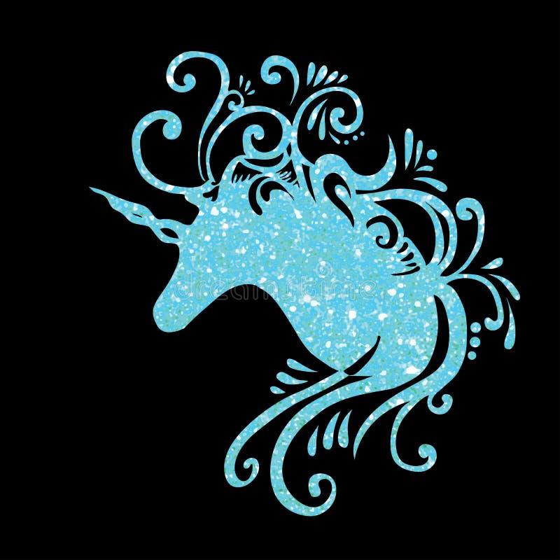 De blauwe fantasie van de eenhoorn hoofd vectoreenhoorn schittert van de de eenhoornsklem van het eenhoornsilhouet van de de kuns royalty-vrije illustratie