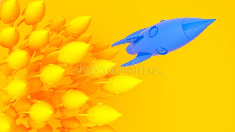 De blauwe gele raket van het raketlood, opstarten, illustratieconcept van leider op een markt royalty-vrije illustratie