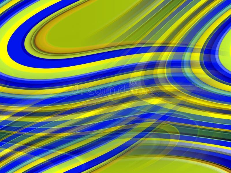 De blauwe gele vloeibare lijnenachtergrond, vat kleurrijke meetkunde samen royalty-vrije illustratie