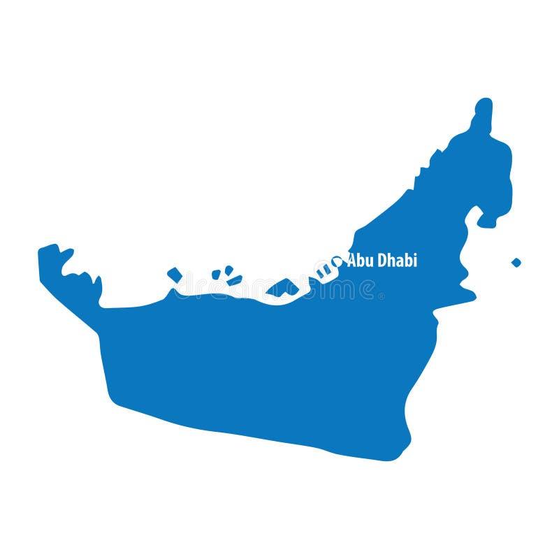 De blauwe gelijkaardige vectorkaart van de V.A.E Verenigde Arabische Emiraten met hoofdstad Abu Dhabi, schone illustratie stock illustratie