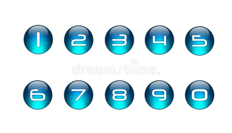 De blauwe Geplaatste Pictogrammen van Aantallen [01] vector illustratie
