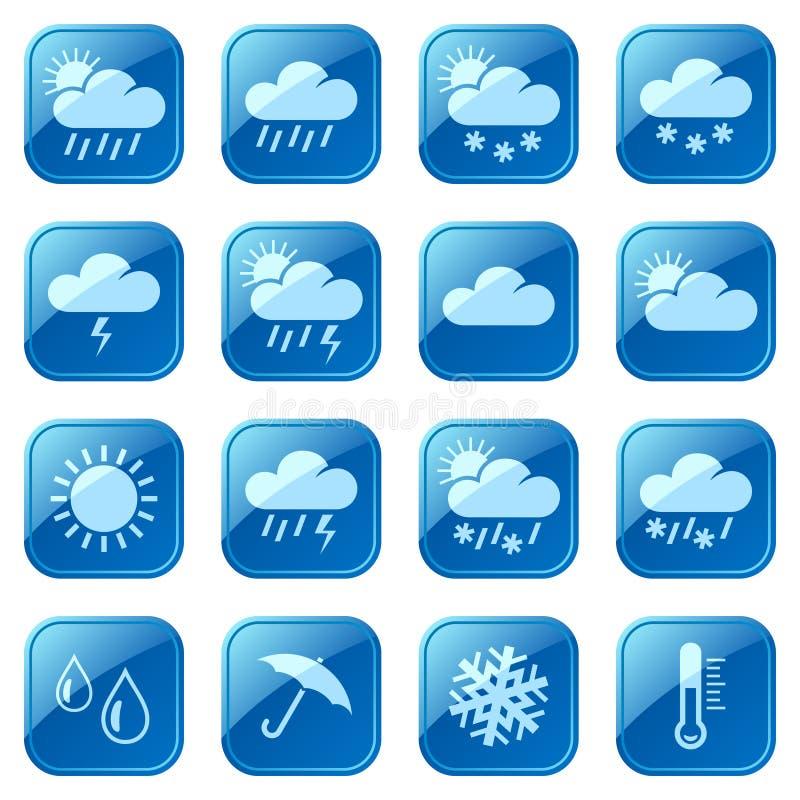 De blauwe geplaatste pictogrammen van het weer royalty-vrije illustratie