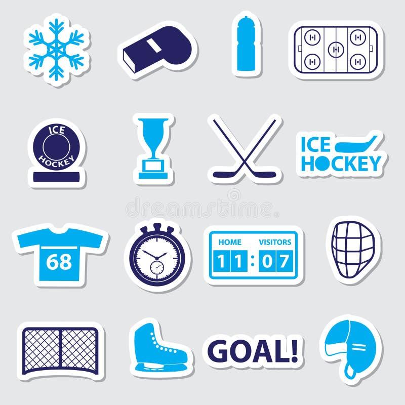 De blauwe geplaatste stickers van de ijshockeysport stock illustratie