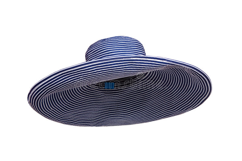 De blauwe gestreepte die hoed van de de zomervrouw op witte achtergrond wordt geïsoleerd stock foto