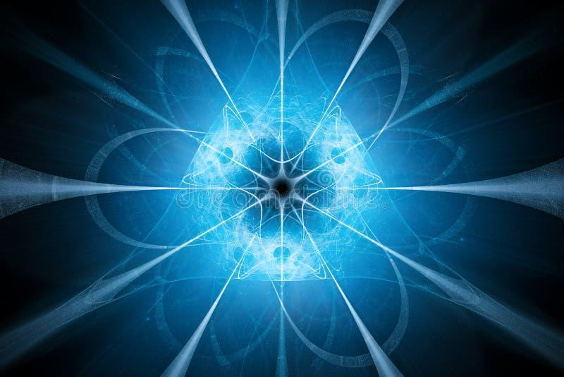 De blauwe gloeiende achtergrond van het kerntechnologieontwerp royalty-vrije illustratie