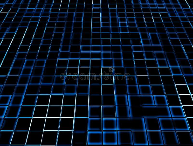 De Blauwe Gloeiende Tegels Van Het Neon Stock Foto