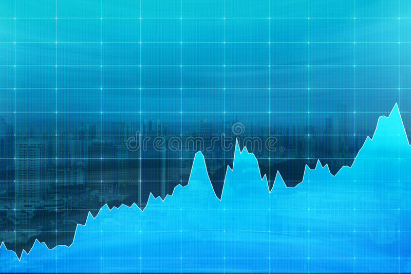 De blauwe grafiek aantonende groei, schommelingen, concept analys stock illustratie