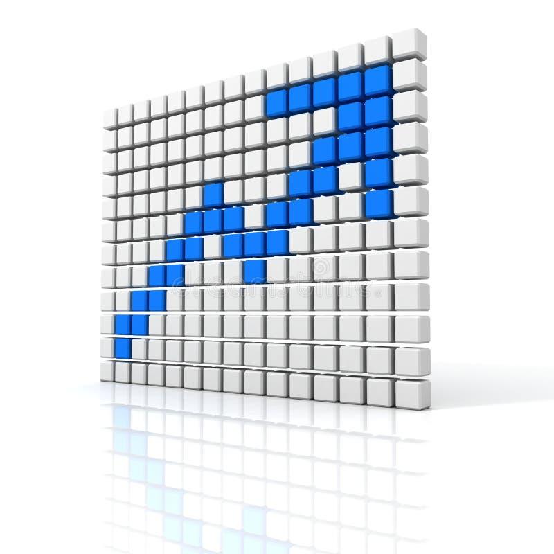 De blauwe groei op pijl van witte kubussen royalty-vrije illustratie