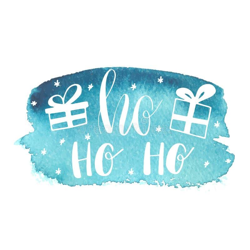 De blauwe Groetkerstkaart met hand-drawn typografie het van letters voorzien uitdrukking HoHoHo en de huidige vakjes op waterccol vector illustratie