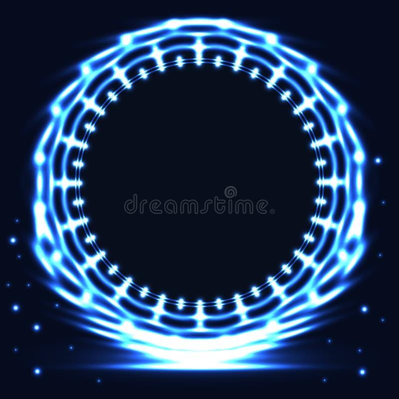 De blauwe heldere kaart van het cirkelembleem vector illustratie