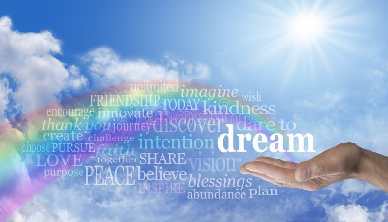 De blauwe hemel en de regenboog durven om woordwolk te dromen stock foto