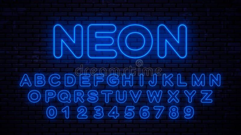De blauwe Hoofd Engelse Brieven van het Neonalfabet stock illustratie
