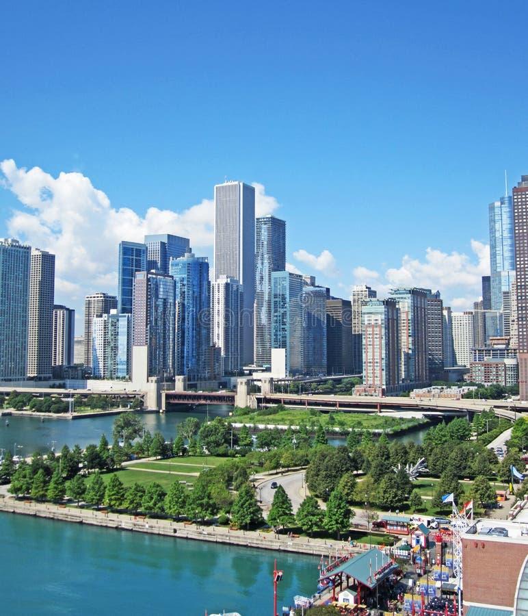 De blauwe Horizon van Chicago stock afbeeldingen