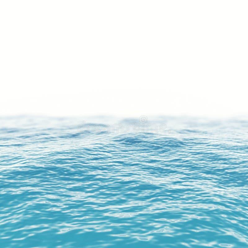De blauwe horizon van de zeewateroppervlakte met diepte van gebiedsgevolgen 3D Illustratie stock foto