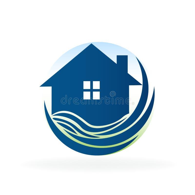 De blauwe huis en strand van het de van bedrijfs golvenonroerende goederen vector van het het beeldembleem kaartpictogram van ide vector illustratie