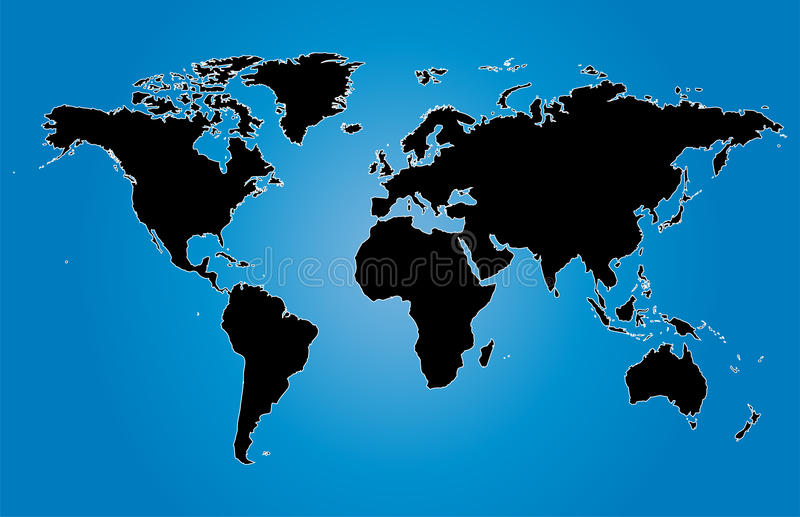 De blauwe illustratie van wereldkaarten met de grenzen van het land stock afbeelding