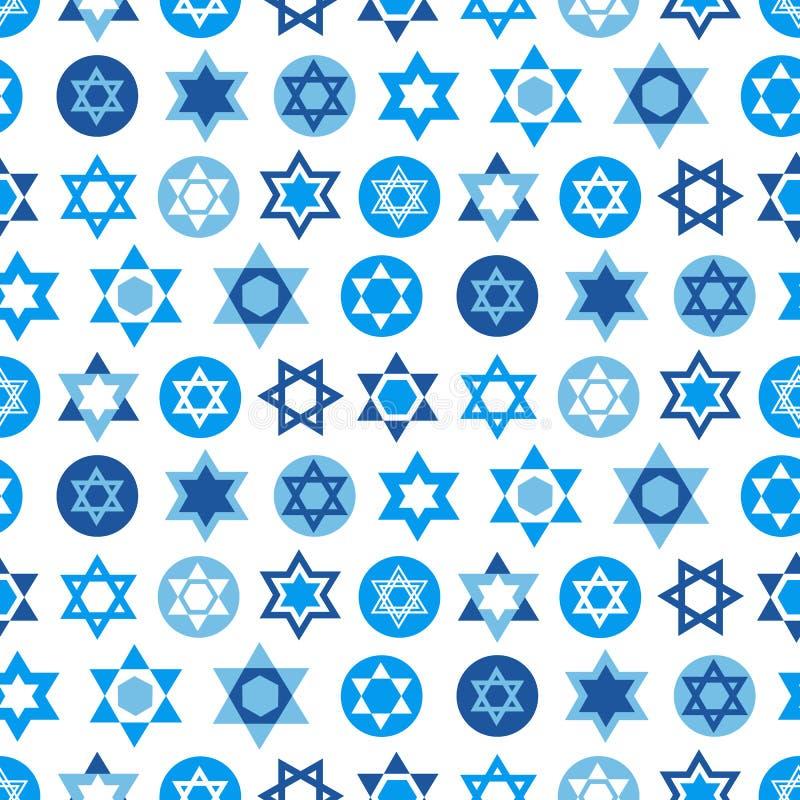 De blauwe inzameling van Jodenstersymbolen Joods naadloos patroon stock illustratie
