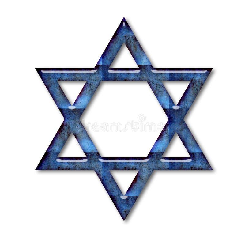 De blauwe Jodenster van het Glas royalty-vrije stock foto's