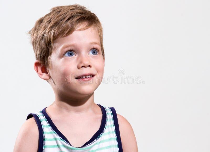 De blauwe jongen van het oogjonge geitje royalty-vrije stock afbeelding