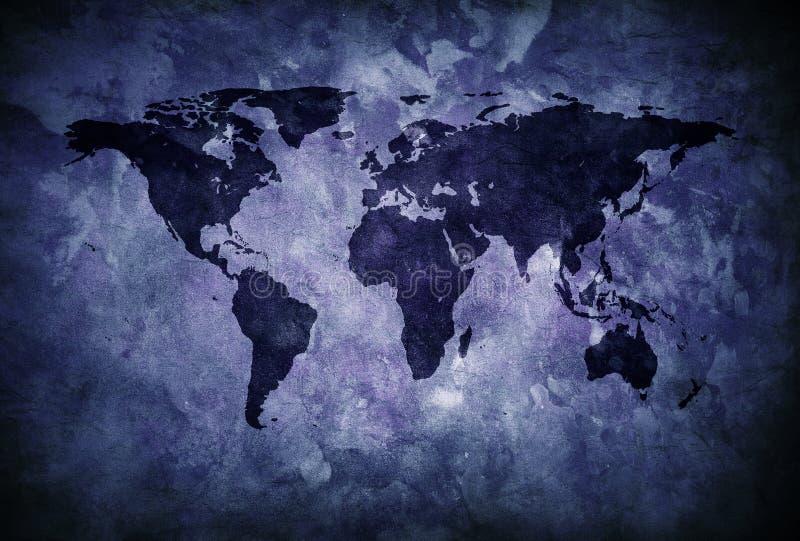 De blauwe kaart van de grungewereld royalty-vrije stock fotografie