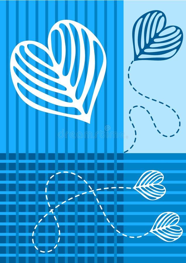 De blauwe kaart van de het huwelijksuitnodiging van Blokken vector illustratie