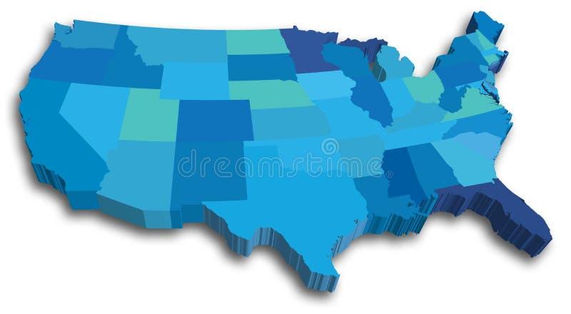 De blauwe kaart van de Staat van de V.S. 3D vector illustratie