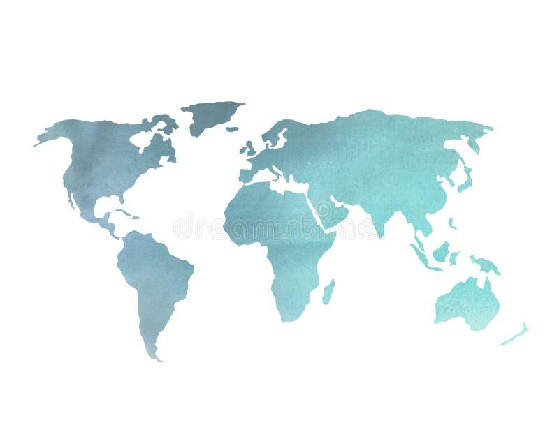 De blauwe Kaart van de Waterverfwereld royalty-vrije stock afbeelding