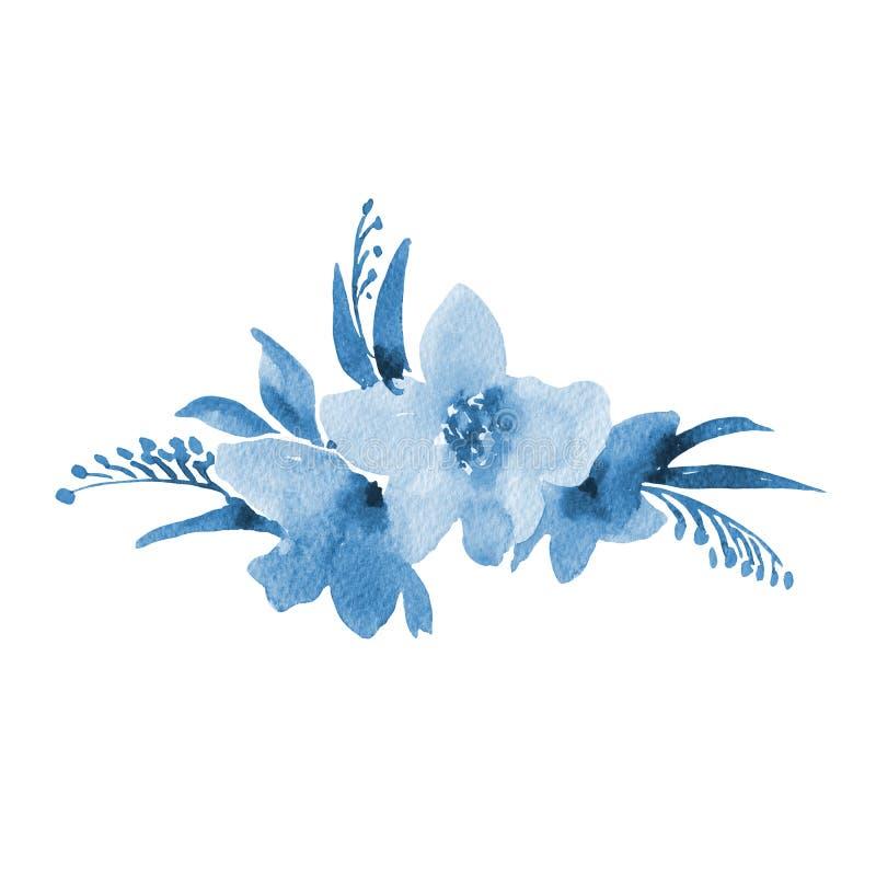 De blauwe Kaart van de Waterverf Uitstekende Groet met de Zomer Wildflowers vector illustratie