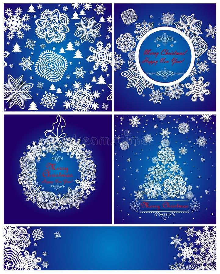 De blauwe kaarten van de Kerstmisgroet met document sneeuwvlokken vector illustratie