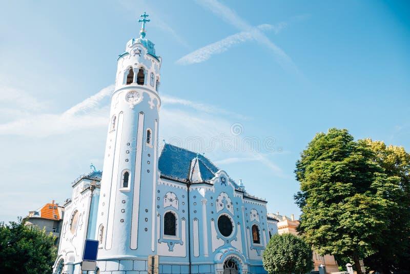 De Blauwe Kerk of Kerk van Elizabeth in Bratislava, Slowakije stock afbeelding